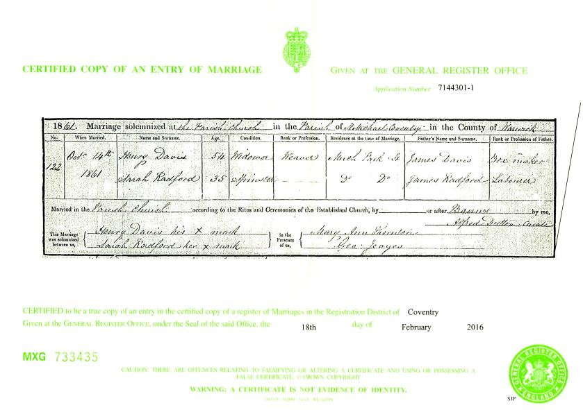 Henry Davis & Sarah Radford marriage